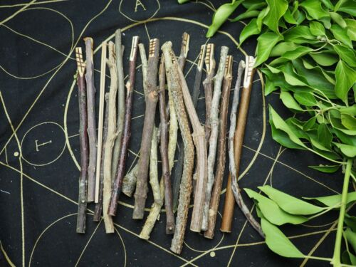 Long Celtic Ogham Staves with Bag & Information made with corresponding woods