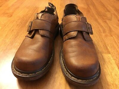 DOC Martens Womens Size 6 M Brown Leather Buckled Club Monk Comfort Shoes Doc Martens Club