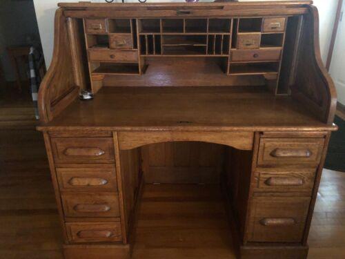 Antique Oak Rolltop Desk & Chair