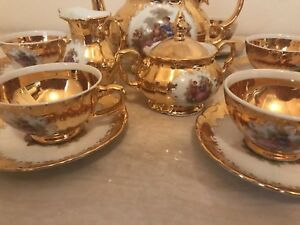 Gold Plated Romeo & Juliet Tea Set 24k Made in Italy