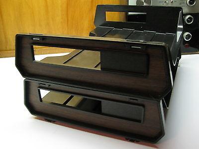 Vtg Rogers Stak-ette Desktop Tray File Holder Black Wood Plastic Organizer Usa