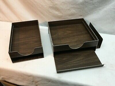 Vintage Desk Tray Two-tier Metal Industrial In And Out Mail Box Organizers
