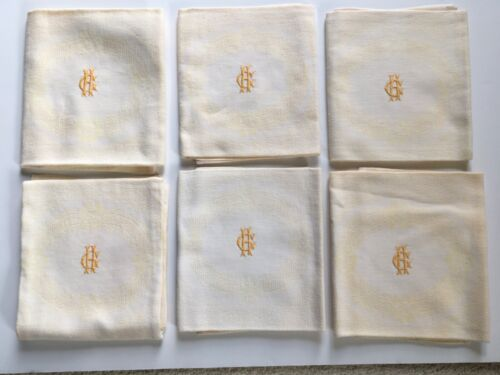 French Linen Napkins Pale Yellow Monogramed GH S/6 Luncheon Dinner Size Vintage