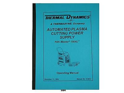 Thermal Dynamics Pakmaster 150 Xl Plasma Cutter Operating Manual 984