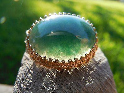 Vintage 14K Gold Rare Blue Green Jade Scarf Holder or Slide  6.2 g