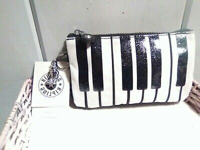 NWT Kipling Creativity limited edition  piano key Pouch w metal monkey MSR$59