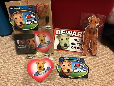 Nwt Airedale Dog Gift Set- Magnets Coasters Sticker Ornament
