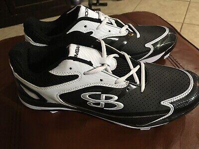 472b290dfc7e New Womens BOOMBAH Fastpitch Softball Baseball Metal Cleats Black/White Sz  10