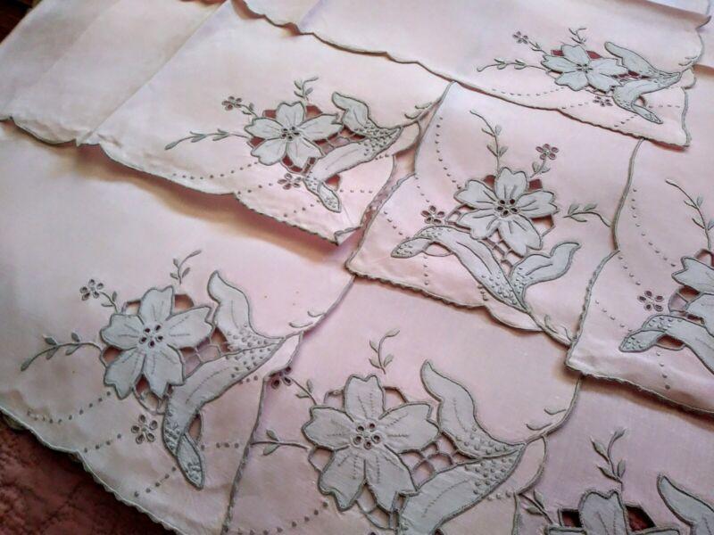 "Set / 7 Madeira Flower Design Gray Applique & Embroidered Pink Linen Napkins 22"""