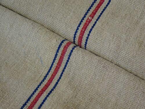 Antique European Feed Sack GRAIN SACK Red & Blue Stripe # 9505
