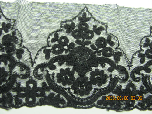 """Vintage French Black Embroidered Net Lace Trim 46""""x3.5"""" Projects A8"""