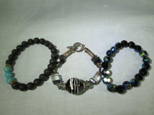 "Bracelet Lot of 3: Silver Tone 7"" Toggle & 2 Glass/Acrylic Beaded Stretch Black"