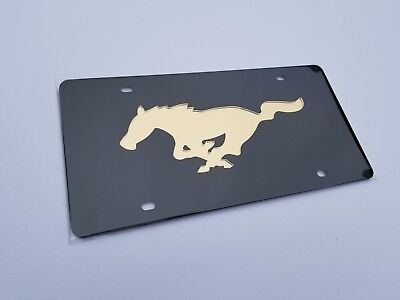 Mirrored Acrylic License Plate - Ford Mustang 3D Logo on Mirrored Acrylic License Plate Tag