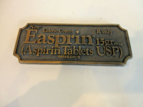 Vintage Brass EASPRIN Paperweight Advertising Sign Apothecary Pharmacy BG