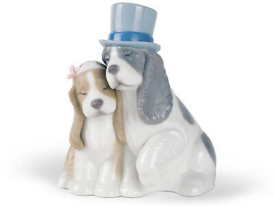 Nao by Lladro Together Forever #1480 Marca Punta Perro Love Boda Guardar...