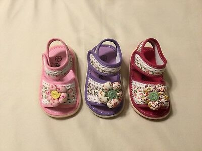New Infant Baby Girls Removable Squeaky Flower Casual Summer Sandal Size 0-5