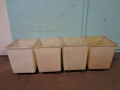 Lot Of 4 Rubbermaid H.d. Commercial Ingredients Storage Bins Carrier Carts
