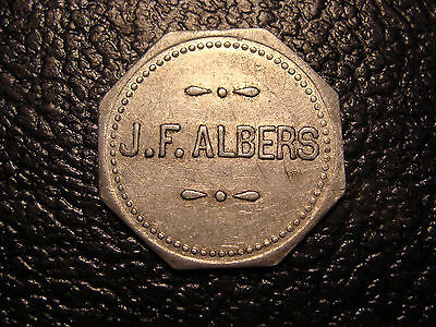 Old J.F. Albers St Louis MO Good For 5C At The Bar Token WE COMBINE ON SHIPPING