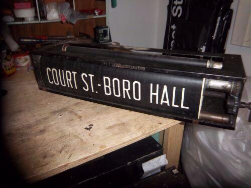 NY NYC SUBWAY ROLL SIGN & BOX COMPLETE BRIGHTON BEACH OCEAN BORO HALL BROOKLYN