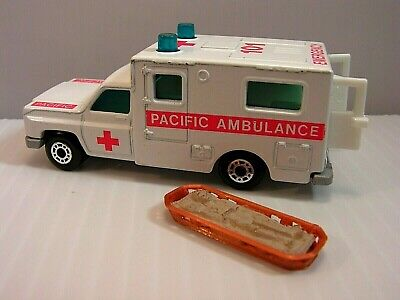 Matchbox 1977 Chevy~Pacific Ambulance with Patient on Stretcher, Opening Doors!
