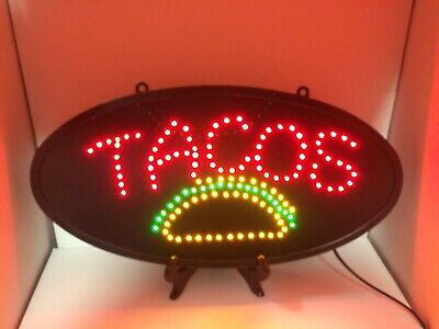 2 Pcs Ovaltacos Led Light Sign For Businesses Or Fun