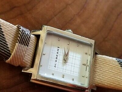 Women's Burberry Silvertone and Leather Plaid Watch