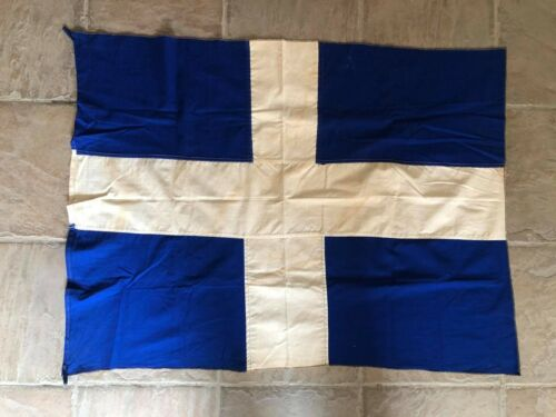 BEAUTIFUL VINTAGE GREEK  CROSS FLAG  (1950s-1960s) 77 cms height x 105 cms long