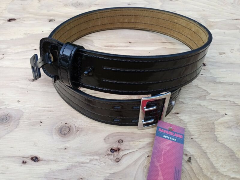 """New Safariland Duty Gear Suede Lined Glossy Black Belt 87-42-9 42"""" Chrome Buckle"""