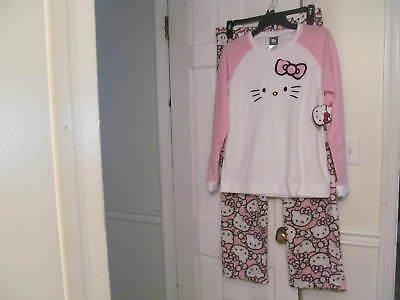 Women's (Juniors) Hello Kitty 2 Piece Pajamas Small Pink/White/Black w/ 3D Logo