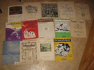 16 PIECES OF CHARACTERISTIC BLACK AMERICANA SHEET MUSIC, LARGE & STANDARD SIZE