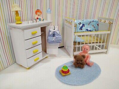 COMPLETE Wood NURSERY w/ Renwal BABY DOLL Vintage Miniature Dollhouse Furniture