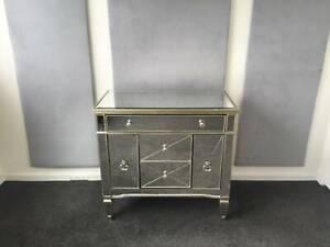 Antique Sofia Mirror 5 Drawer Chest Vintage Silver Dresser