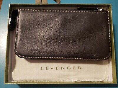 Levenger, Dark Brown Genuine Suede Leather, Top Zipper Clutch Bag Leather Suede Clutch