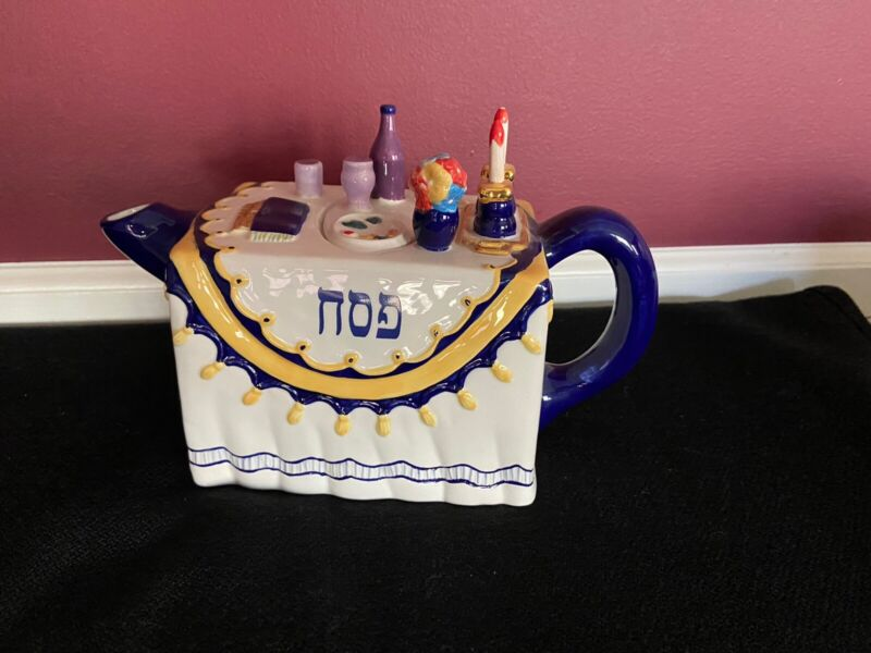 Collectible Passover Judaica Handpainted Teapot - Sharon Muchnick - RARE