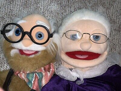 Puppets ventriloquist Dummy Puppet Grandma & Grandpa Old Man And Woman W/ Stands