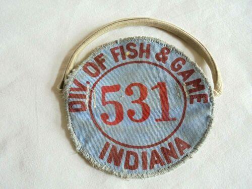 Vintage Indiana Division of Fish & Game Hunting or Fishing Cloth Armband License
