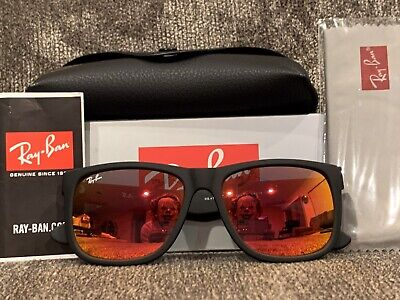 BRAND NEW Ray-Ban RB4165 Justin 622/6Q Black/Red (Ray Ban Colored Mirrored Sunglasses)