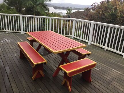Rustic Shabby Chic Outdoor Dining Table And Bench Seats   8 10 Seater Part 31