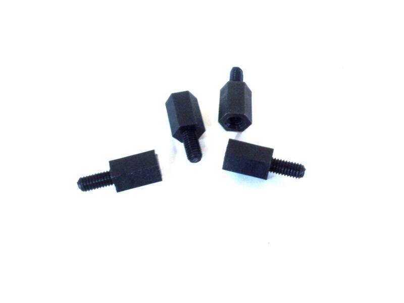 M3 x 8mm Nylon Threaded-Tapped (MF) Standoffs Spacers - Black (4 pcs)