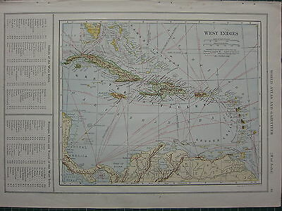 1926 MAP ~ WEST INDIES HAITI JAMAICA CUBA LESSER ANTILLES PORTO RICO