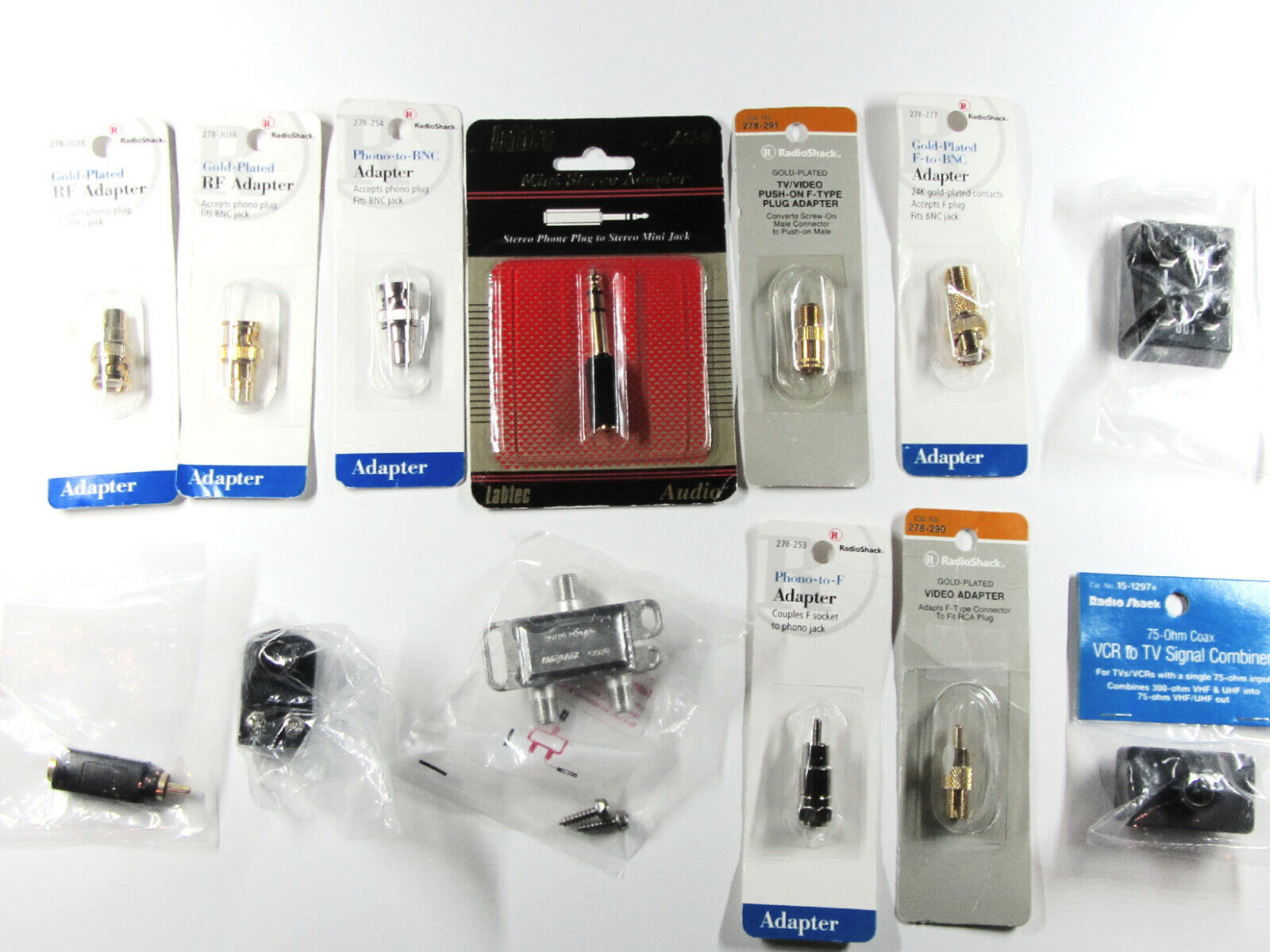 Lot of 12 Assorted of New Video & Audio Connectors & Adapter