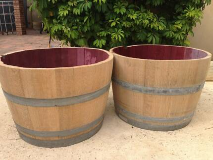 2 X Half Wine Barrels For Sale Pots Garden Beds Gumtree