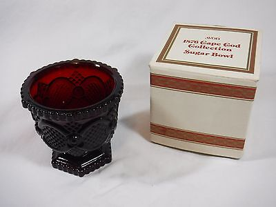 MINT Avon 1876 Cape Cod Ruby Red Glass SUGAR BOWL with Original Box