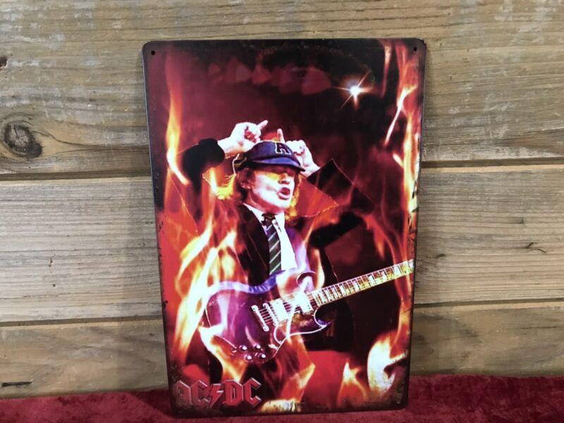 """AC/DC Angus Flames SG Guitar Tin Metal sign 8""""X12"""" Man-Cave Décor"""