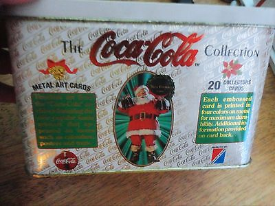 COCA COLA TIN WITH METAL EMBOSSED SANTA CLAUSE THEME CARDS