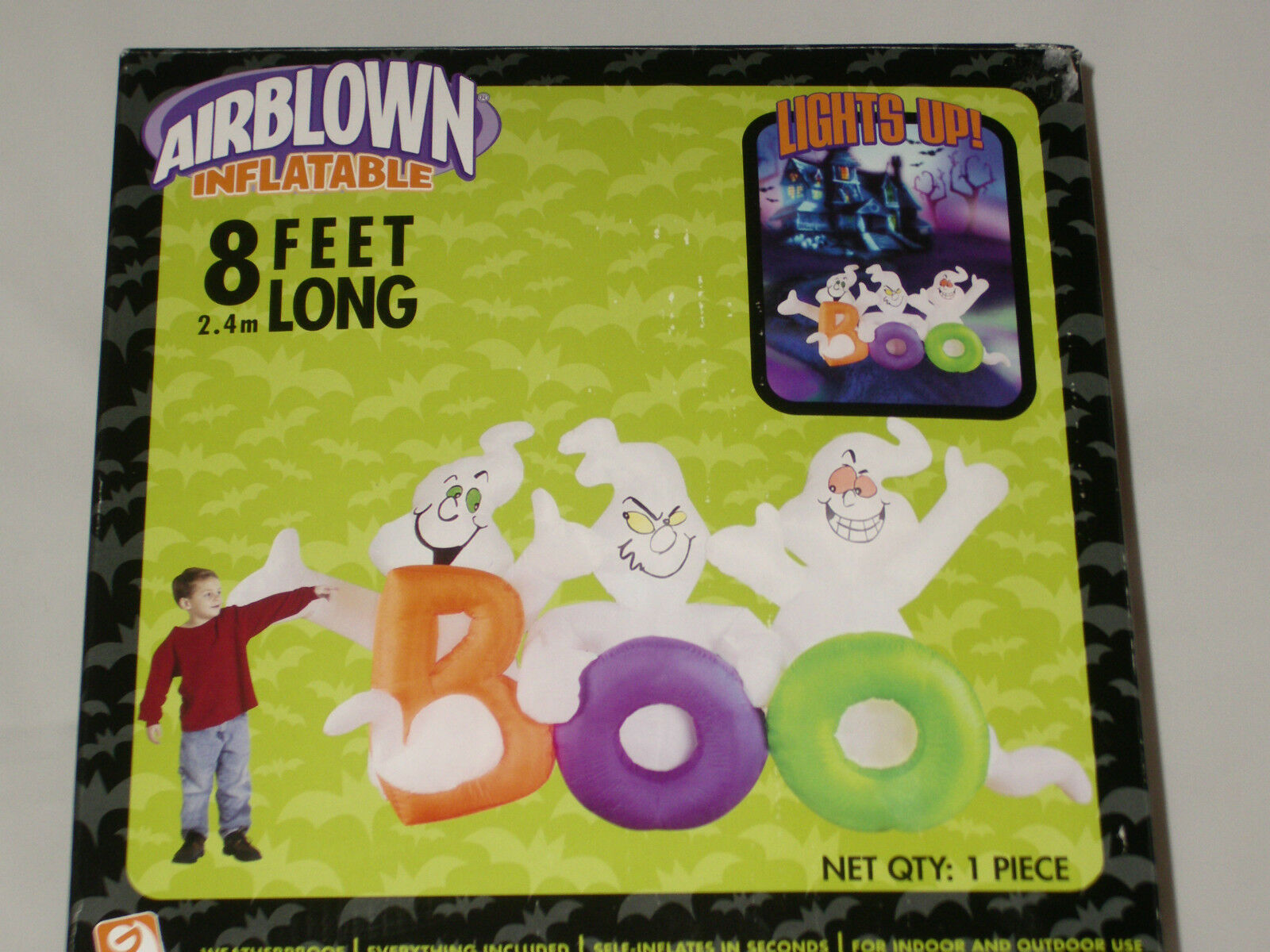 8' Long Lighted Ghosts Halloween W/fading Lights Airblown Inflatable Blow-up