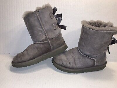 UGG Australia Bailey Bow Gray Boots 3280K Kids Youth Girls Size 2