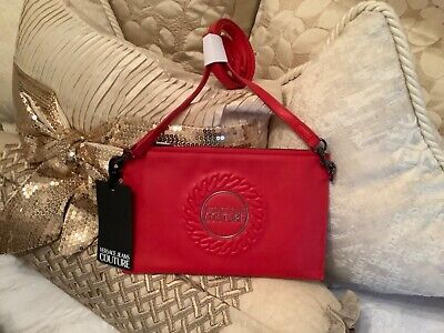 Versace Couture crossbody bag/wristlet Purse , red. NWT. AUTHENTIC.