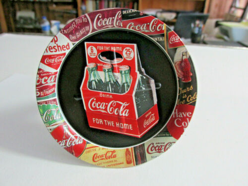 5-1999 Coca Cola TIN COASTER With Six Pack Of Bottles, (OHIO ART CO) 3.5 inches