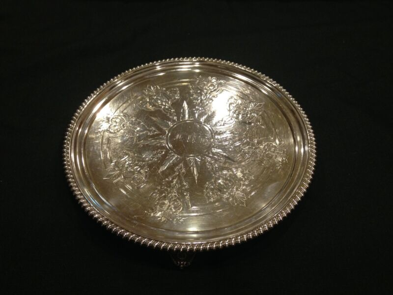 "Tiffany & Co. Sterling Silver 10"" Footed Salver Tray J C Moore and Son"